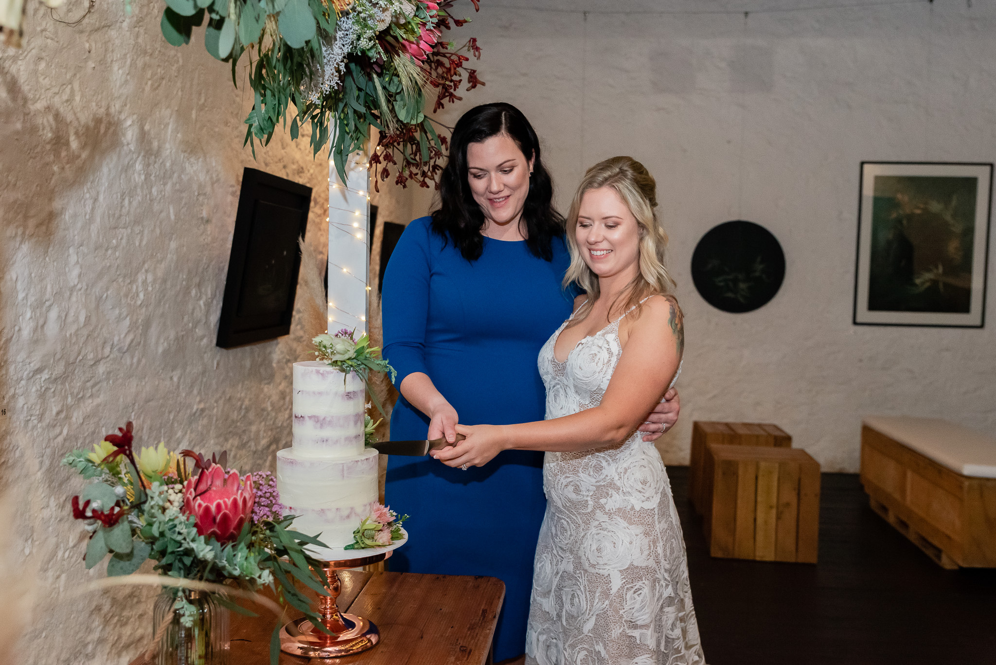 Perth Wedding Bride & Bride Cutting Cake